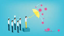 Businessman use umbrella protecting another businessman from coronavirus covid-19 infection, heart floating on cute character, vector illustration for graphic design,website or business banner