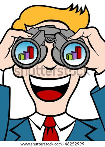 Businessman uses his binoculars to see a financial chart. - stock vector