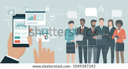 Businessman using a financial app on his smartphone and connecting with business experts team online: augmented reality and social media concept