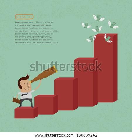 businessman using a telescope on a bar chart , eps10 vector format