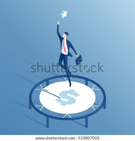 businessman using a trampoline