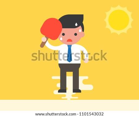 Businessman using handheld fan because very hot weather under sunlight, summer theme, flat design