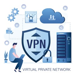 Businessman using laptop. Big shield with VPN software or plugin. App for secure connection, data encryption. Virtual Private Network. Male user uses vpn to work and surf Internet. Мector illustration