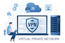 Businessman using laptop for internet surfing. Big shield with VPN software or plugin. App for secure connection, data encryption. Virtual Private Network. Remote server, cloud technology. Flat Vector