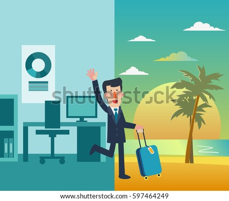 Businessman vacation. Holidays time, recreation, travel and relaxation vector design. Beach sunset background