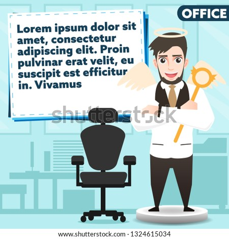 businessman vector and copy space for text,officeman with angel costume in good mood,Good leader of office and  strategy board and chair with office room background,personnel positive thinking vector.