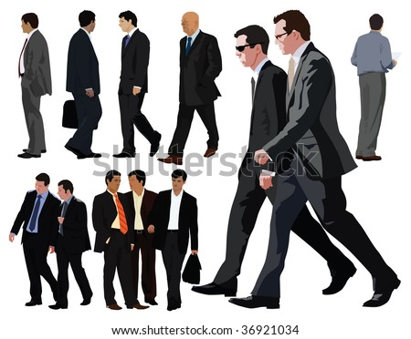 Businessman vector color illustration. Twelve persons. Between them two couples. Realistic graphic with color clothes and faces.