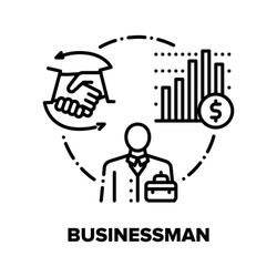 Businessman Vector Icon Concept. Businessman Partnership And Contract, Financial Report And Leadership, Management And Employment. Company Organisation And Human Resources Black Illustration