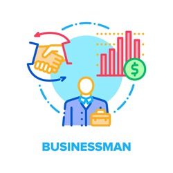 Businessman Vector Icon Concept. Businessman Partnership And Contract, Financial Report And Leadership, Management And Employment. Company Organisation And Human Resources Color Illustration