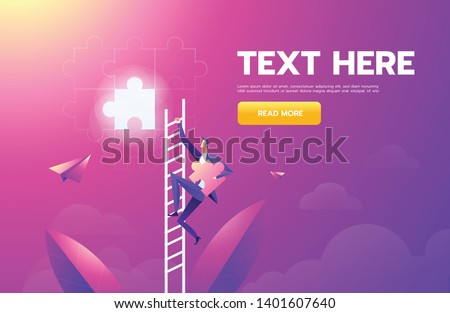 Businessman vision creative concept solution opportunities on top of ladder climb puzzle elements success. illustration - vector.
