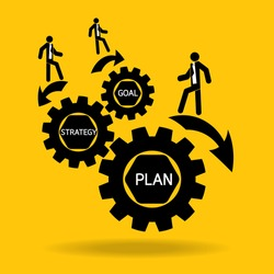 businessman walk on plan strategy goal in cog on yellow background : management business concept vector