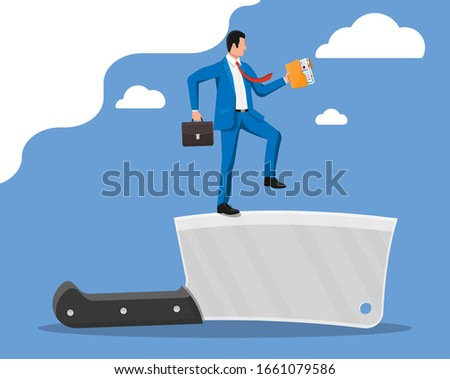 businessman walking on edge of
