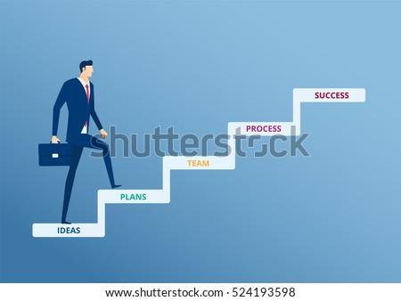 businessman walking on stair