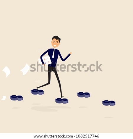 Businessman walking on the blue dollar sign.Way of success.Concept for success.Businessman walking on the street of success.Businessman on the road to success in business.Business vector illustration
