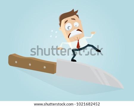 businessman walking on the edge