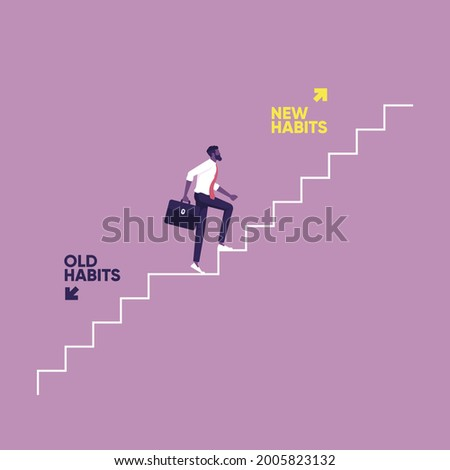 Businessman walking up stair to new habits way, Old Habits and new habits choice, Choose a new direction, make a choice concept Photo stock ©