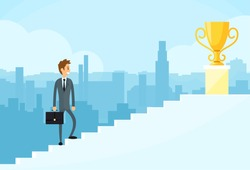 Businessman Walking Up Stairs, Concept Business Man Win Price Flat Vector Illustration