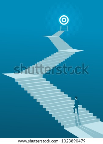 Businessman Walking up Stairs to Goal, Business Concept Simple Vector of Overcome Obstacles to Success.