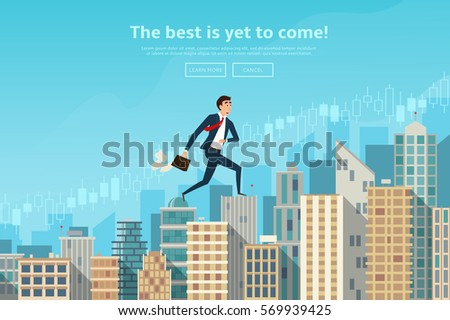 Businessman walking up the career stairs. Concept of web banner with person running to the success. Modern flat design of urban landscape with city buildings. Vector illustration.