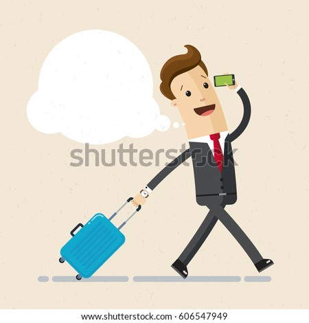Businessman walking with small hand baggage and talking on the phone. Vector, illustration, flat