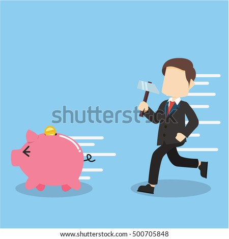 businessman want to destroy piggy bank