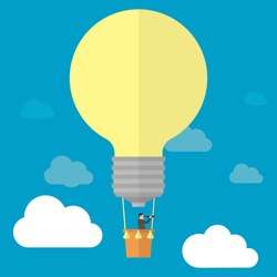 Businessman watching trough telescope in hot air balloon-lightbulb in the sky. Good idea= successful business concept.  Vector illustration