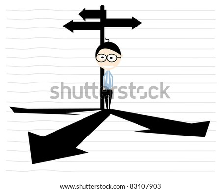 businessman way - stock vector