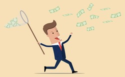 Businessman with a butterfly net trying to catch money. Happy running entrepreneur man using business opportunity to scoop some dollar bills.  vector illustration
