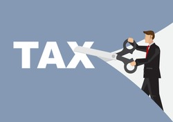 Businessman with a giant scissor cutting a tax paper. Concept of tax reduction or budget management. Flat vector illustration.