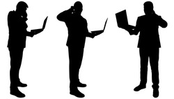 Businessman with a laptop in hands talking on the phone. Man with a wireless computer is talking on a smartphone. Teamwork. Office workers. Three black male silhouettes isolated on a white background.