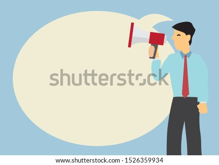 Businessman with a megaphone and a giant speech bubble against a green background. Concept of sales, consumerism or marketing. Flat vector illustration.