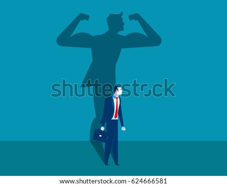 Businessman with a shadow and career strength. Concept business illustration. Vector character and abstract.