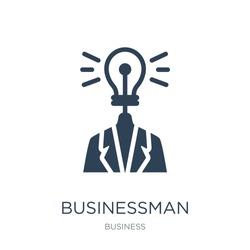 businessman with an idea icon vector on white background, businessman with an idea trendy filled icons from Business collection, businessman with an idea vector illustration