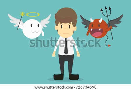 businessman with angel and