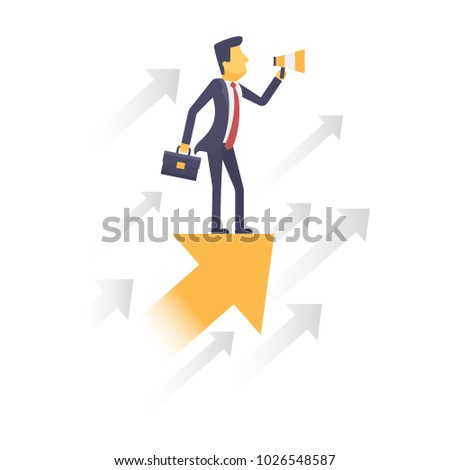 Businessman with arrow graph way to success. Business concept vector.
