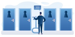 Businessman with big key standing in front of doors with keyholes. Handsome man chooses the right path to success. Male character back view in trendy style. Business scene. Vector illustration