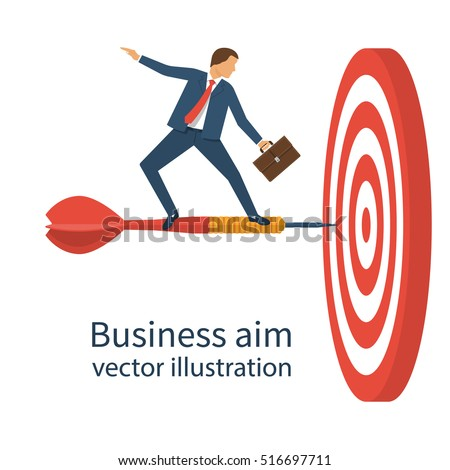 Businessman with briefcase standing on dart to achieve business goal, concept. Aim in business. Vector illustration flat design. Smart solution to achieve mission. Direction victory. Aiming to target.