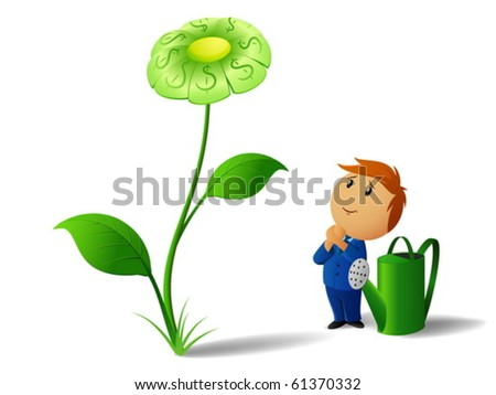 Businessman with can and green dollar flower plant