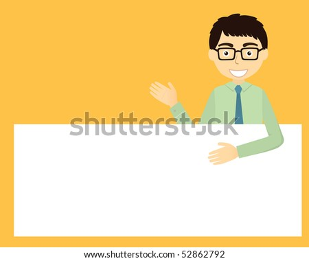 Businessman with cardboard