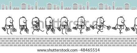 businessman with cell phone & wallet -walking cartoon character for animated sprites