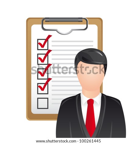 businessman with checklist over white background. vector