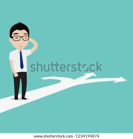 Businessman with choice arrows and navigation arrow on the surface. Concept of decision making and choices success in the future goal_1