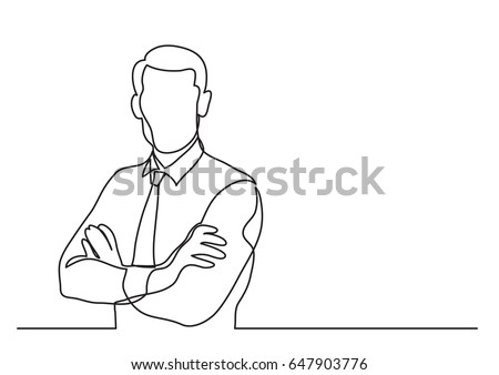 businessman with crossed arms - single line drawing