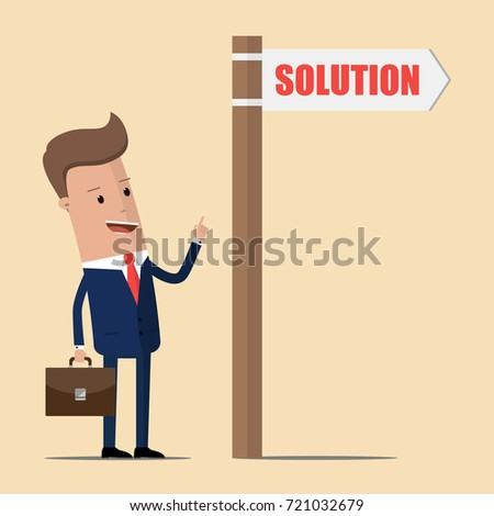 Businessman with directional sign and word Solution. Vector illustration