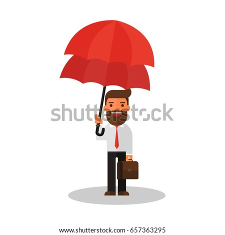businessman with double umbrella