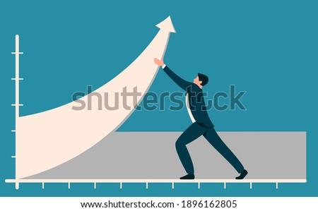 businessman with effort raises schedule of profit, sales growth, business development Photo stock ©