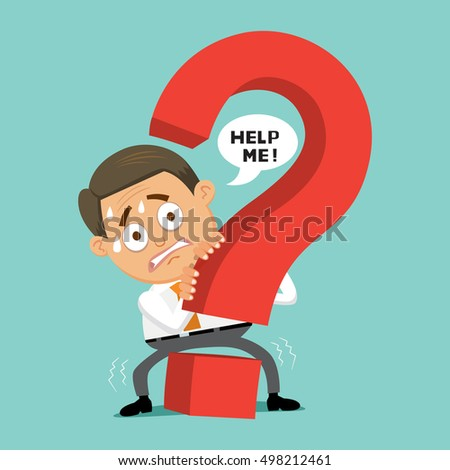 Businessman with fear hiding from question mark, vector illustration cartoon