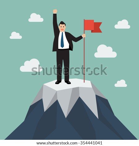 businessman with flag on a...
