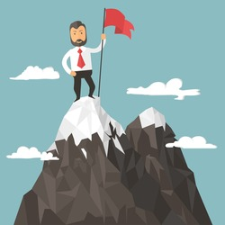 Businessman with flag on a Mountain peak, success and mission, Business target and victory and motivation, winner on top. Flat style, success image