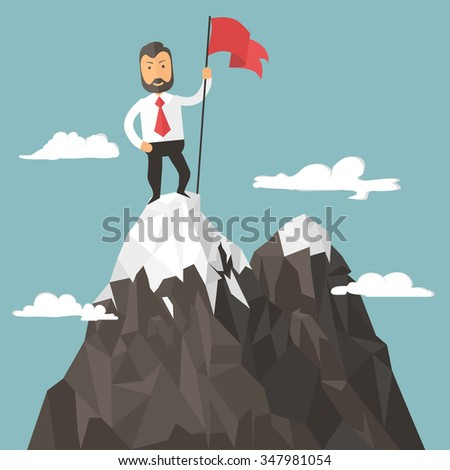 businessman with flag on a